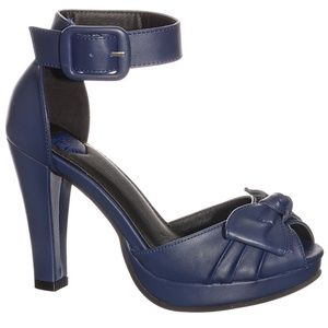 NEW Vintage Pin-Up Girl Navy Bow High Heel Pumps